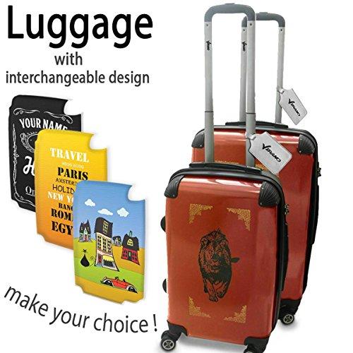 Oblivion 10007, Leone, Set da 2 Luggage Valigia Bagaglio Ultraleggero Trasportabile Rigido 4 Route Adatto con Disegno Colorato. Dimensione: Formato Cabina S, M