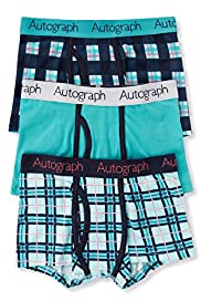 3 Pack Autograph Cotton Rich Checked Trunks