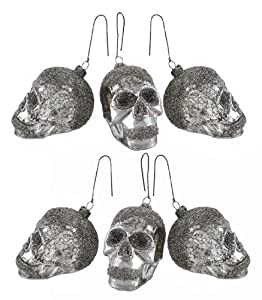 Bethany Lowe Set of 6 Mercury Glass Skull Ornaments