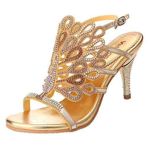 VELCANS Womens Handmade Studded Rhinestone Peacock Shaped High Heels Prom and Wedding Special Occassions Sandals (9.5 B(M) US, Gold)