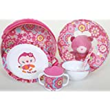 Baby Girl Feeding Dinnerware Set. Plate, Bowl,Cup and Spoon. Chip Chip Collection.