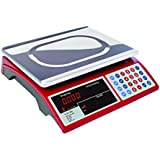 Camry Digital Commercial Price Scale 33lb / 15kg for Food Meat Fruit Produce with Dual Bright Red LED Display 15 Inches Platform Rechargeable Battery Included