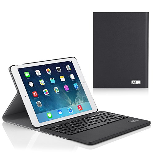 ATiC Apple iPad Air 2 (iPad 6) ケース - Apple iPad Air 2 (iPad 6) 9.7 インチ iOS 8タブレット専用Bluetoothキーボード型フォリオケース。BLACK
