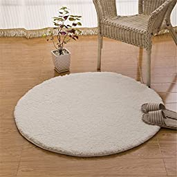 Hoomy Off White Floor Rugs Shaggy Polyester Bedroom Area Rugs Yoga Rug Living Room Carpet Small Floor Mats Round 3.2 Feet