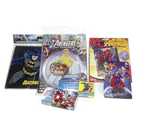 Superhero Boy Toy Bundle Assortment Six Items Plus Gift Bag Captain America, Superman, Batman, Ironman, Avengers, Spiderman