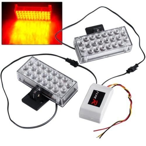 2X Car 22 LED Yellow Strobe Emergency Flashing Light