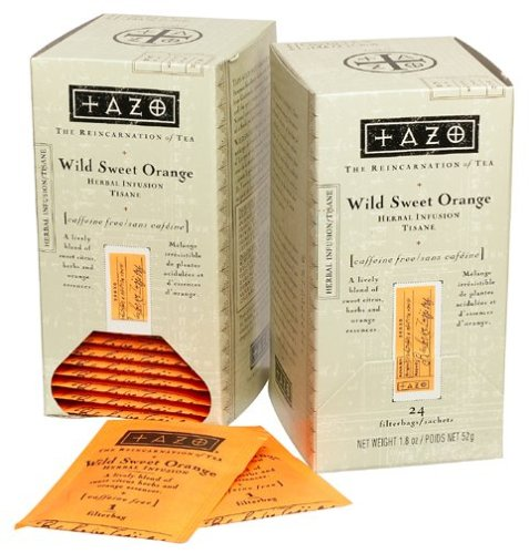 Tazo Wild Sweet Orange Herbal Tea Filterbags with Dispenser, Six (6) 24-Count Filterbags (144 Bags Total)