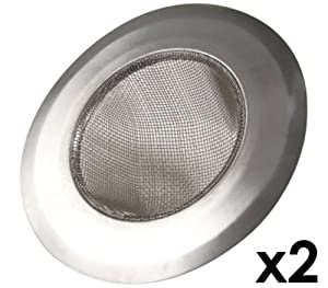"""Stainless-Steel Kitchen Sink Strainer - Set of 2 - Large Wide Rim 4.25"""" Diameter - Perfect for Kitchen Sinks"""