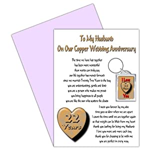 Wedding Anniversary Gifts 22 Year : 22nd Wedding Anniversary Card With Removable Keyring Gift22 Years ...