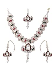 Bel-en-teno Red & Green Alloy Necklace Set For Women