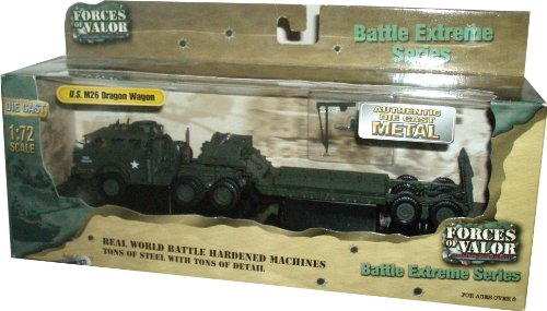 Forces of Valor 1:72 Scale Die Cast Military Combat Real World Battle Hardened Machines Battle Extreme Series - Heavy Tank Transporter and Tank Recovery Vehicle U.S. M26 Dragon Wagon (France , 1944)