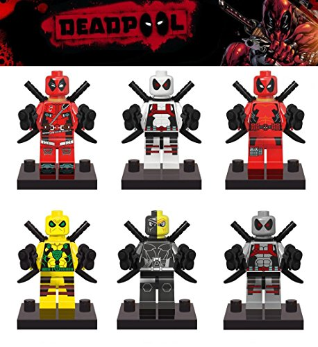 [6 x SuperHeroes & Villain Minifigures - Deadpool & DeathStroke] (Invisible Man Costume 2016)