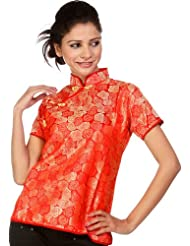 Exotic India Red Floral Brocaded Cheongsam Top From Sikkim - Red