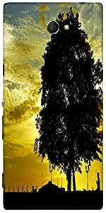 Snoogg Sunset And Tree Designer Protective Back Case Cover For Sony Xperia M2