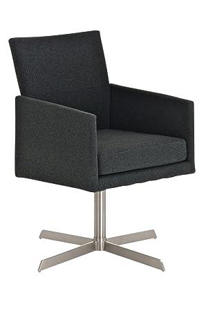 CLP Edelstahl Clubsessel / Lounge-Sessel CUBIC mit Stoffbezug, aus bis zu 4 Farben wählen dunkelgrau