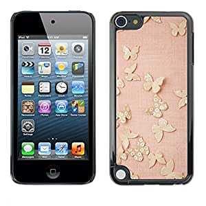 Hard Protector Case Cover Slim Back Shell for Apple iPod Touch 5 /Gold Butterflies Pink Spring Cute Clean/ STRONG