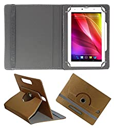 Acm Designer Rotating 360° Leather Flip Case For Lava Ivory Plus Tablet Stand Premium Cover Golden