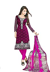 Varsha Women's Unstitched Churidar Kameez With Dupatta (Purple_Free Size)
