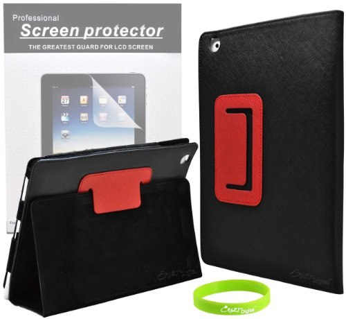 CrazyOnDigital Designed 2 Tone Black and Red Table Stand Leather Case for Apple iPad 2 2nd Generation 16GB 32GB 64GB 3G Wifi