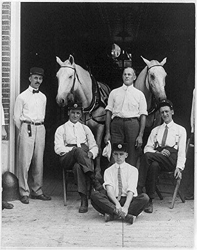 Firemen and Horses in doorway of fireshouse in Webster Groves,Missouri, c1890-1933