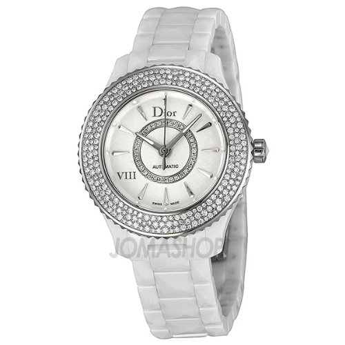 Christian Dior VIII Automatic Diamond White Ceramic Ladies Watch CD1235E5C001