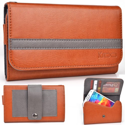 Exxist® Graphite Series. Patent Leather Women'S Wallet / Clutch For Archos 43 Internet (Color: Grenadier / Grey Stripe) -Esmlgpn2