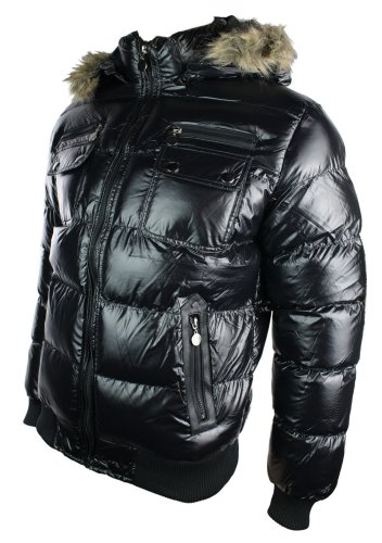 Mens Winter Warm Down Shiny Removable Fur Hooded Puffer Bomber Jacket Black Padded