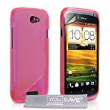 Yousave Accessories HTC One S Case Pink S-Line Silicone Gel Cover With Screen Protector ~ Yousave Accessories