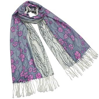 Dahlia Women's 100% Merino Wool Pashmina Scarf - Pink Flower River - Gray