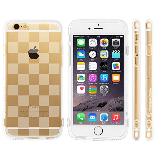 Highend berry iPhone 6 4.7インチ 落下防止 用 ストラップ ホール 保護キャップ 一体型 ソフト TPU ケース チェッカード クリア