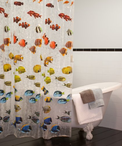Maytex Mills New School Fish PEVA Vinyl Shower Curtain Clear