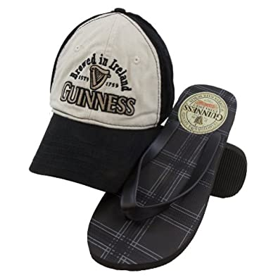 St. Patrick's Day - Guinness - Clover Logo Adjustable Cap & Flip-Flops Combo Set