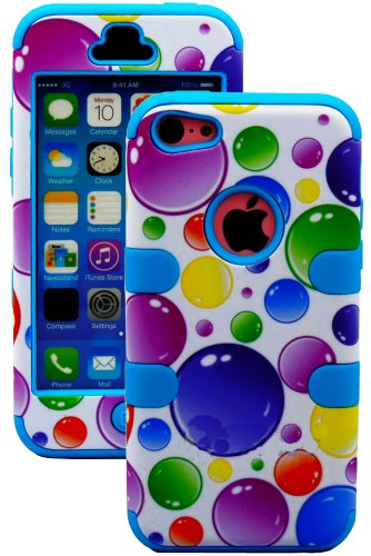 Mylife (Tm) Sky Blue + Colorful Bubbles Style 3 Layer (Hybrid Flex Gel) Grip Case For New Apple Iphone 5C Touch Phone (External 2 Piece Full Body Defender Armor Rubberized Shell + Internal Gel Fit Silicone Flex Protector + Lifetime Waranty + Sealed Inside