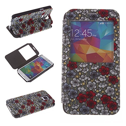 Nine States Pu Leather Visible Window Plum Blossom Print Folio Case For Samsung Galaxy S5 Green front-815148
