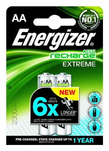 Energizer Rechargeable Extreme AA 2300mAh Batteries - Pack of 2
