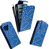 MOBILEEXTRALTD® For LG Viewty Snap Gm360 Blue Diamond Sparkly Pouch PU Leather Magnetic Protected Flip Case Cover + Free Stylus