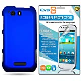 CoverON® Motorola Photon Q 4G LTE Hard Rubberized Slim Case Cover Bundle with Clear Anti-Glare LCD Screen Protector - Blue