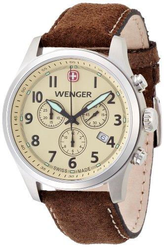 Wenger Terragraph Chrono 01.5431.105 - Reloj cronógrafo de cuarzo para hombre, correa de cuero color marrón (cronómetro, agujas luminiscentes)