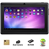 Alldaymall® 7 Inch Android 4.4 KitKat Tablet PC MID with Capacitive Touchscreen (512MB + 8G, Dual Core CPU, 1.5GHz, Wi-Fi, Bluetooth, Dual Camera) Black