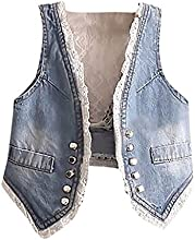 Pupik Girls Stylish White Lace Back Classic Fashion Denim Vest