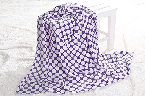 "Bacati Dots Plush Throw, Purple, 50"" x 60"""