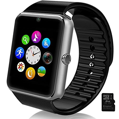 Smartlife Sweatproof Smart Watch Phone for iPhone 5s/6/6s and 4.2 Android or Above SmartPhones Include 8G Micro SD Card