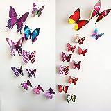 2-X-JinTo-12pcs-Papillon-Mural-Autocollant-Stickers-muraux-Dcalque-Art-Dcoratif-3D-Violette