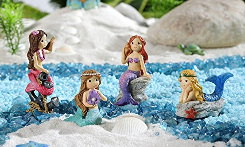 Giftcraft Set of 4 Miniature Under The Sea Colorful Mermaid Figurines