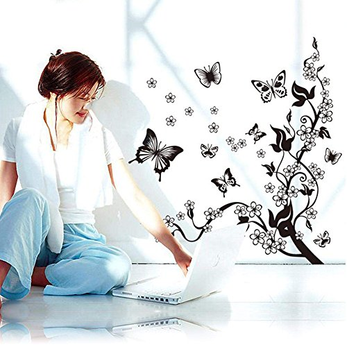 Zeagoo® Wall Mural Decal Sticker Butterfly Flowers Tree Wall Sticker Decor Vinyl Art