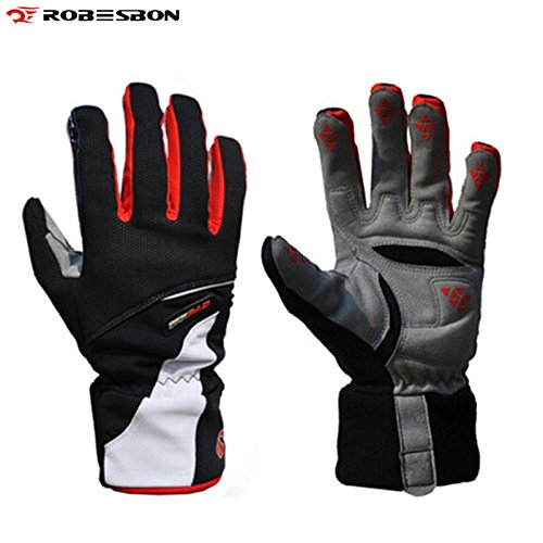 Chakit ROBESBON Band Warm Winter Thicken Bike Bicycle Glove Thermal Fleece Windproof Rainproof Full Finger Cycling Gloves(Size L) (Redcolor)