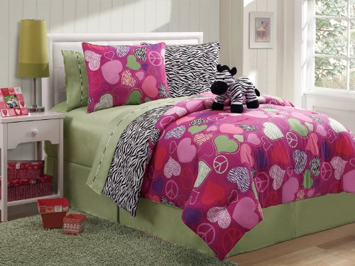 7 Pc Reversible Zebra/Heart Comforter Set Bed In A Bag Twin Size Bedding By Plush C Collection