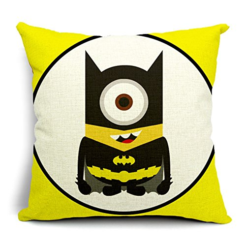 Poens Dream Cuscino, Cute Batman Funny Cotton Linen Decorative Throw Pillow Case Cushion Cover, 17.7 x 17.7inches
