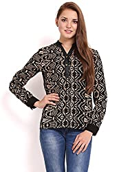 Femenino Black & Light Brown Coloured Printed Top