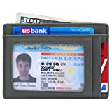 Slim Wallet RFID Front Pocket Wallet Minimalist Secure Thin Credit Card Holder (OneSize, Grey)